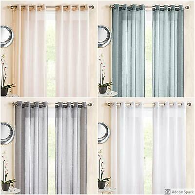 SHEER VOILE EYELET Ring Top Curtain Panel NET CURTAINS Single Panel