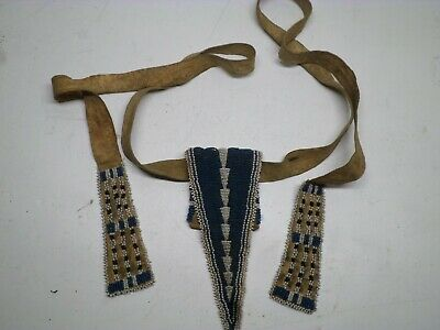 Antique Native American beaded bullet pouch and belt all sinew sewn