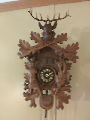 Cuckoo Clock  Black Forest German Carved Wood Hunter 8 Day