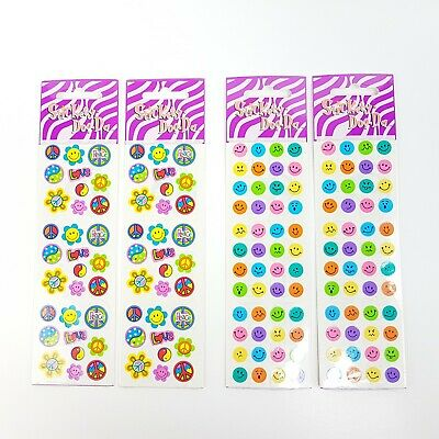 4 Sandylion stickers packs mini Kids Happy smiley mood face hippy peace Flower