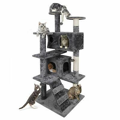 "Cat Tree Furniture Kitten House Play Tower Scratcher 53"" Beige Condo Post Bed"