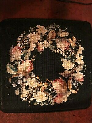 Vintage Hand Stitched Floral Needlepoint Wooden Foot Stool with Brass Tacks