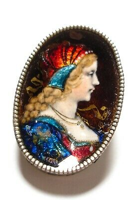 Beautiful antique hand-painted enamel plaque for resetting