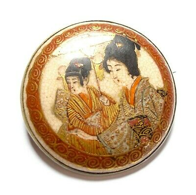 Beautiful antique hand-painted Japanese brooch