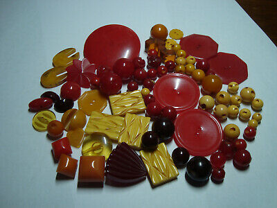 Antique Vintage LOT of BUTTERSCOTCH, RED, WINE,APPLEJUICE BAKELITE buttons