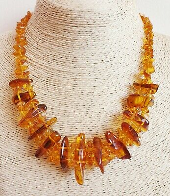 Natural BALTIC AMBER Necklace 2 Lines With Honey Color Stones 21-22 g