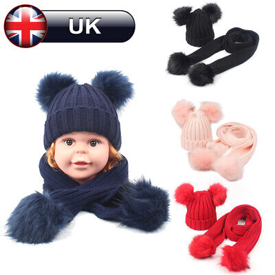 Baby Girl Boy Knitted Bobble Hat Double Pom Pom Winter Warm Stretchy Hat Scarf
