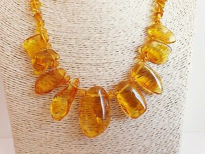 Natural BALTIC AMBER Necklace With 9 Honey Color Stones 18-20 g