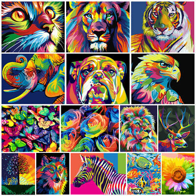 Color Oil Painting DIY Paint By Number Acrylic Canvas Animals Kid Art Supplies