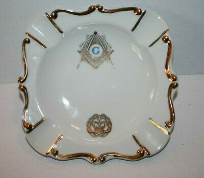 Masonic Lodge Ceramic Ashtray Gold Trim G Compass