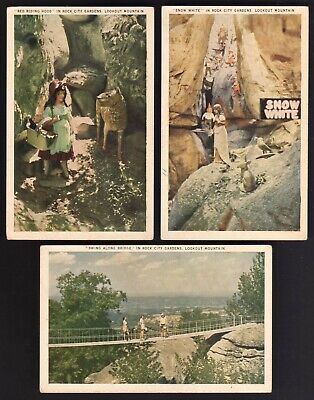 3 Fairyland Caverns Rock City TN Vintage White Border Snow White Red Riding Hood