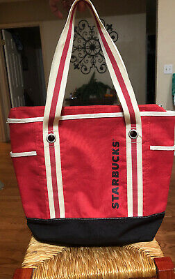 Starbucks Coffee Large Tote Bag Lunch Canvas Red Zipper Closure
