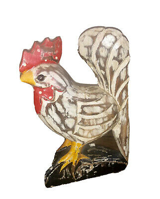 """10"""" tall Hand Carved Wood Rooster Chicken Sculpture from Indonesia Farm Country"""