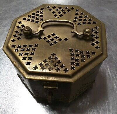 Vintage Small Brass Cricket Trinket Box With Latch Handle Rustic