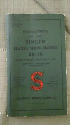 Singer Portable Electric Sewing Machine 66-16 Instructions Booklet Manual