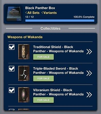 Topps Marvel Collect BLACK PANTHER BOX 2019 [12 CARD WEAPONS OF WAKANDA SET]