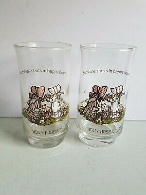 Holly Hobbie Clear Glass Tall Tumbler Drinking Cups Vintage