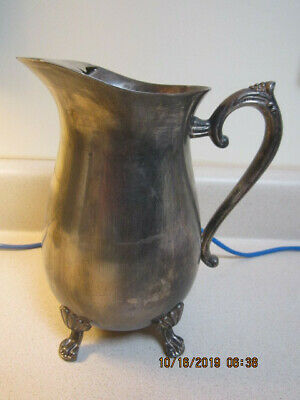 Vintage Silver Plated Claw Footed Water Pitcher with Ice Lip