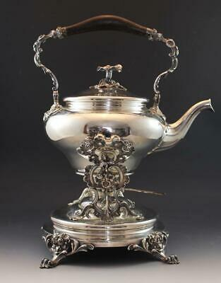 19C Christofle Silver Plate Hot Water Tea Kettle on Stand Morning Glory Finial
