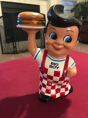 "Big Boy 7"" Coin Piggy Bank 1999 Restaurant Mascot Frisch's Bobs Shoneys Rare"