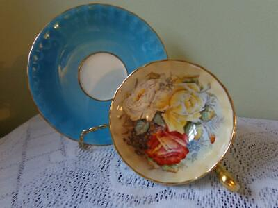 Vintage Aynsley Turquoise Blue Large Red, Yellow,White Roses Footed Cup & Saucer