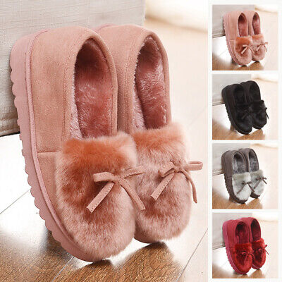 Womens Winter Moccasin Shoes Ladies Velvet Lined Rubber Sole Slip On Slippers