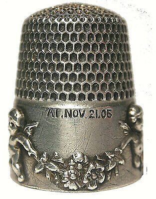 Small Simons Size 7 Cupid / Cherub & Flower Garlands Sterling Thimble c.1890s