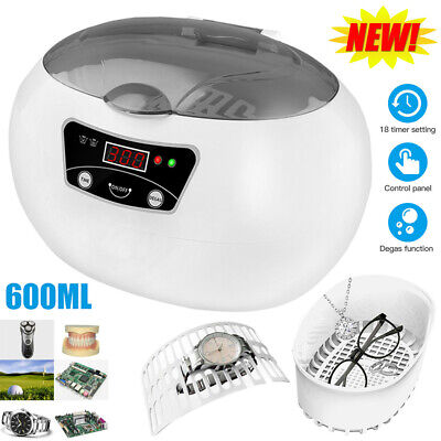 Digital Ultrasonic Cleaner Jewellery Cleaning Multi Purpose Sonic Tank 600ml