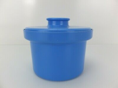 Vintage Retro DECOR Margarine Round Container Blue with Lid