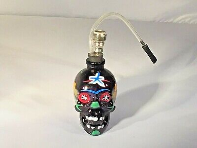 Glass Painted Skull Water Bong Hookah Black Bubbler Smoking  Pipes US Seller
