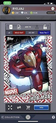 Topps Marvel Collect: June Reserve Box Tier 7 Motion Iron Man Digital