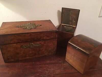 Antique English Inlaid Burl Walnut Tea Caddy ca 1840, Mid 19th C Early Victorian