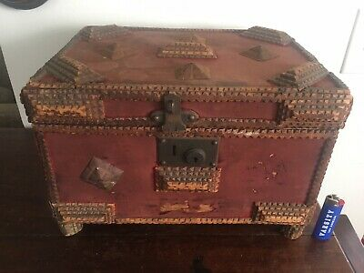 Large Tramp Art Table Box Late 19th C Carved Pine Metal Mounted 10x15x11 ca 1890