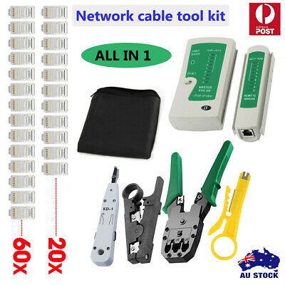 AU Crimp Punch Tool Data Network LAN RJ45 CAT5e RJ11 RJ12 PC Cable Tester Kit