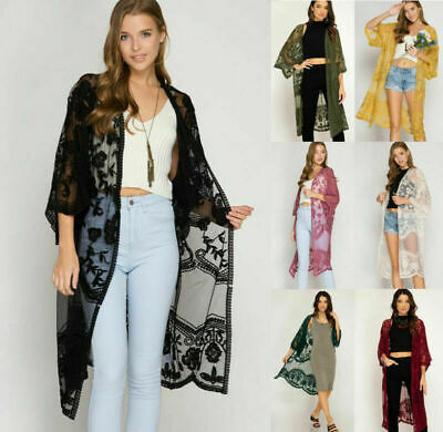 AU Women Embroidered Lace Kimono Sleeve Open Front Cardigan Jacket Long Duster