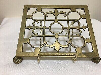 "Antique Vintage Ornate w/ Four Claw Foot Legs Brass Trivet 8"" x 6 1/2"""