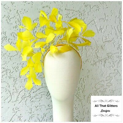 Ladies Yellow Feather Headband Fascinator Wedding Races