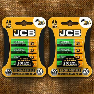 JCB AA 1200MAH RECHARGEABLE BATTERIES PRECHARGED NiMH 1.2v HIGH CAPACITY BATTERY
