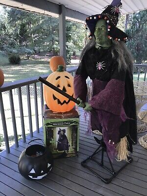 2010 Gemmy Witch Life Size Animated Rhoda Broom The Witch Flying Witch FAST SHIP