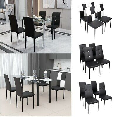 Clear Dining Table And 4 Chairs Vanimeu Black Glass Dining Table And 4 Faux Leather Dining Chairs Set High Back For Kitchen Dining Room Furniture Dining Room Sets