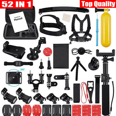 52 IN 1 GoPro Accessories Kit Action Camera Accessory Set Chest Strap Head Mount