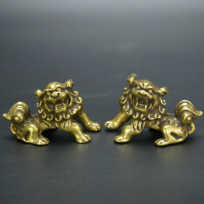 Chinese old collection handwork bronze A pair of lions palace gate lion statues