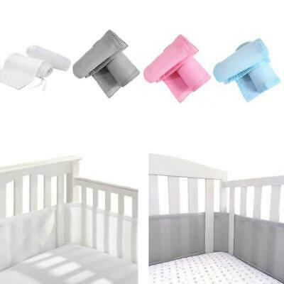 4 Sided Baby Breathable Mesh Crib Liner Infant Cot Bumper Mesh Around Protector
