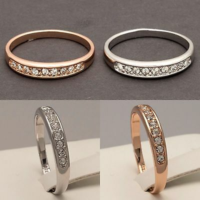 Womens Rose Gold Plated Eternity Ring Ladies Silver Engagement Wedding Band J-R
