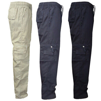Male Casual Elastic Waist Cargo Plain Pants Bottoms Hiking Loose Fit Sports Work