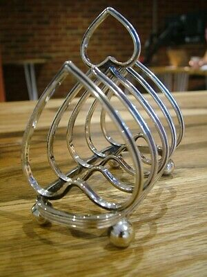 Antique Victorian Novelty Heart Shaped Toast Letter Rack Silver Plate (685)