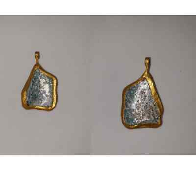 Old roman glass pendant with patina gold plated