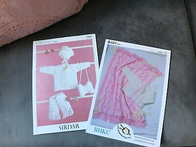 Original Baby Crochet Patterns x 2 Baby Cardigans, Bonnet and blankets