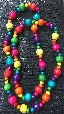 Multi Coloured Funky Wooden Long Single Strand Rainbow Beaded Festival Necklace