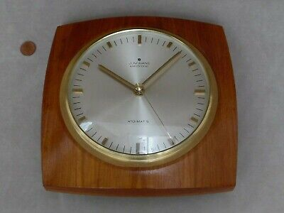 60s 70s JUNGHANS WALL CLOCK, Vintage TEAK WOOD & BRASS, Retro GERMAN HALL QUARTZ